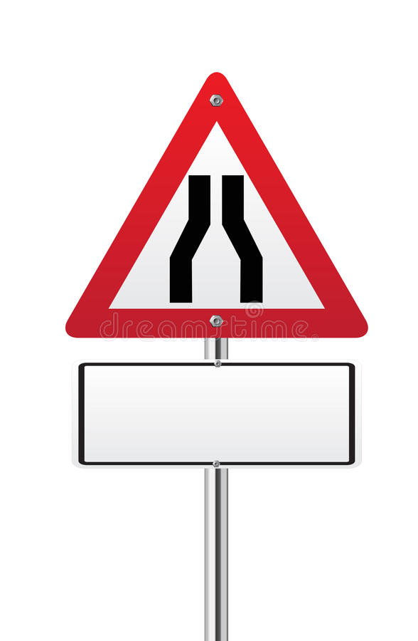 Road narrows sign. Road narrows traffic sign on white vector illustration