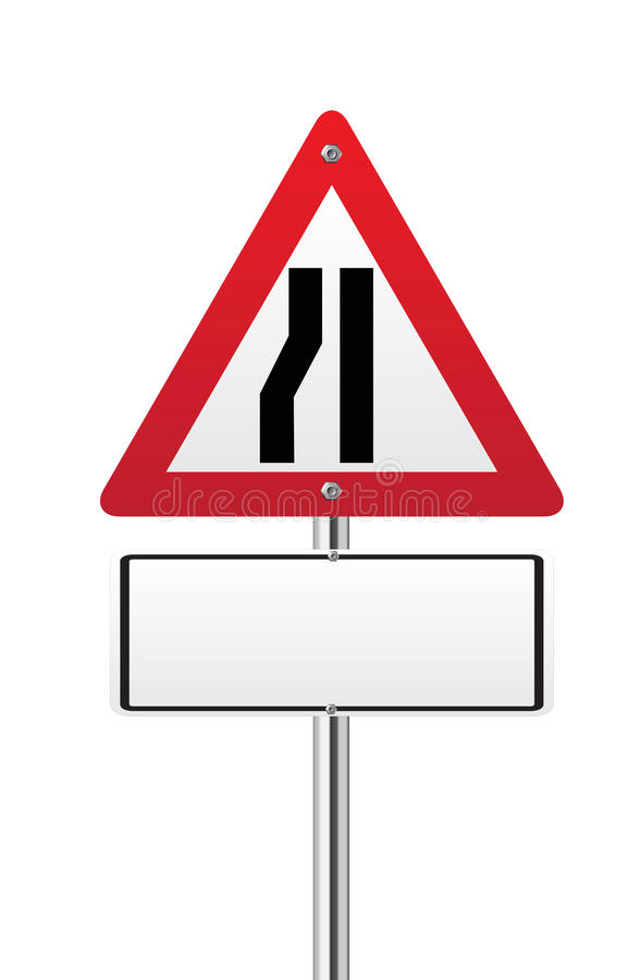 Road Narrows Traffic Sign Stock Images