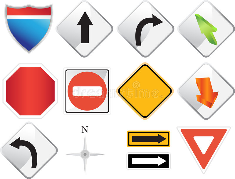 Road Navigation Icons stock illustration