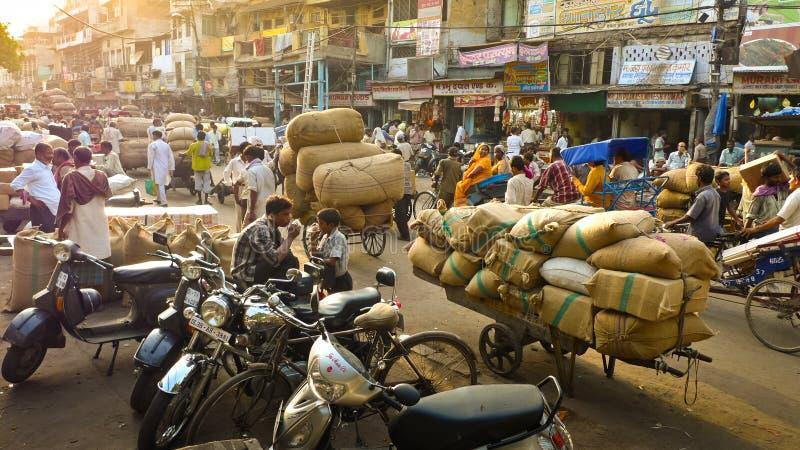 Road near spice market in New Delhi royalty free stock image