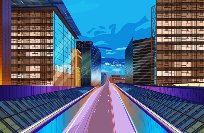 Road at night city scape Vector. Buildings lights background. Modern city. Highway illustration royalty free illustration