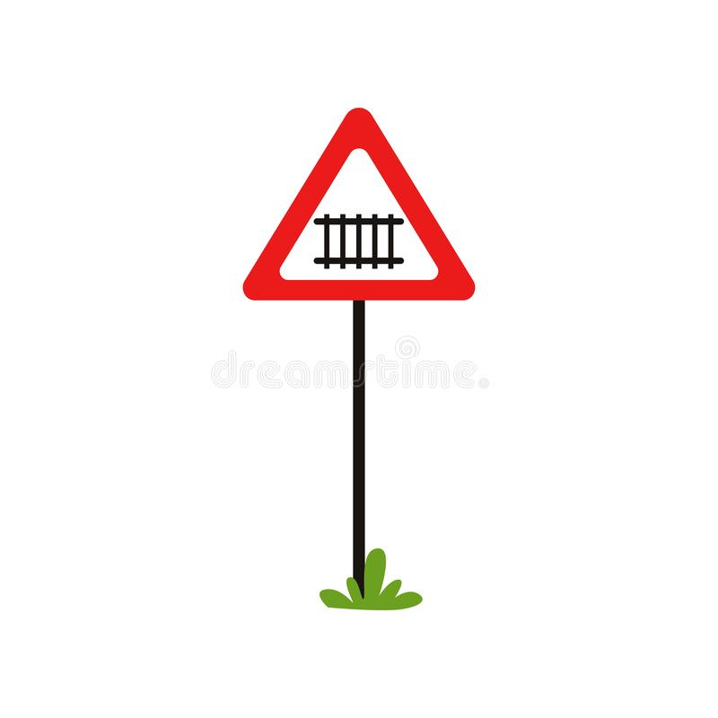 Road notice warns drivers of approaching to railway crossing. Triangular warning sign with barrier. Flat vector design royalty free illustration