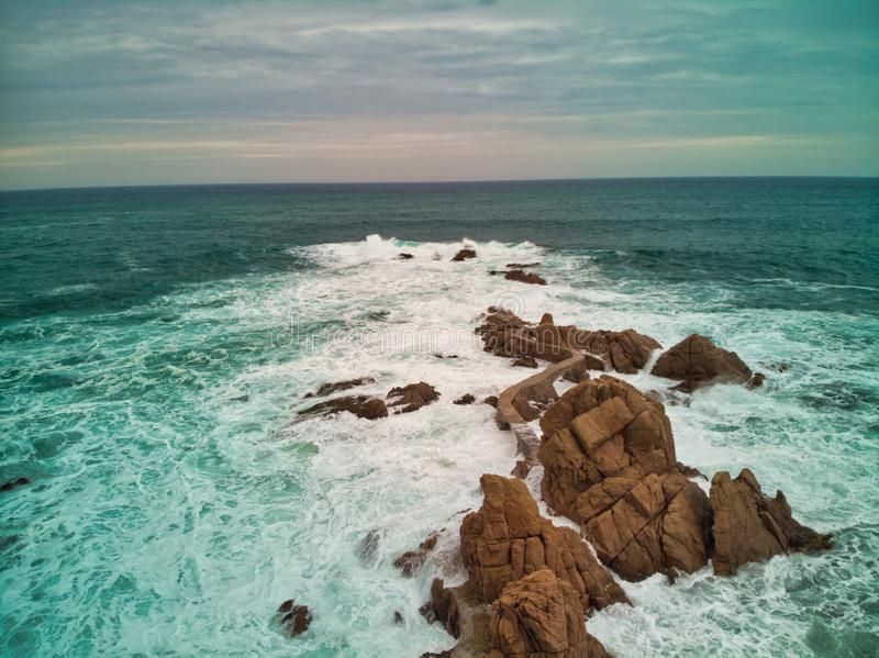 Road over the Mediterranean Sea on the Brave Coast. Photo by drone view outdoor natural travel ocean nature beautiful blue water landscape san orange danger royalty free stock photo