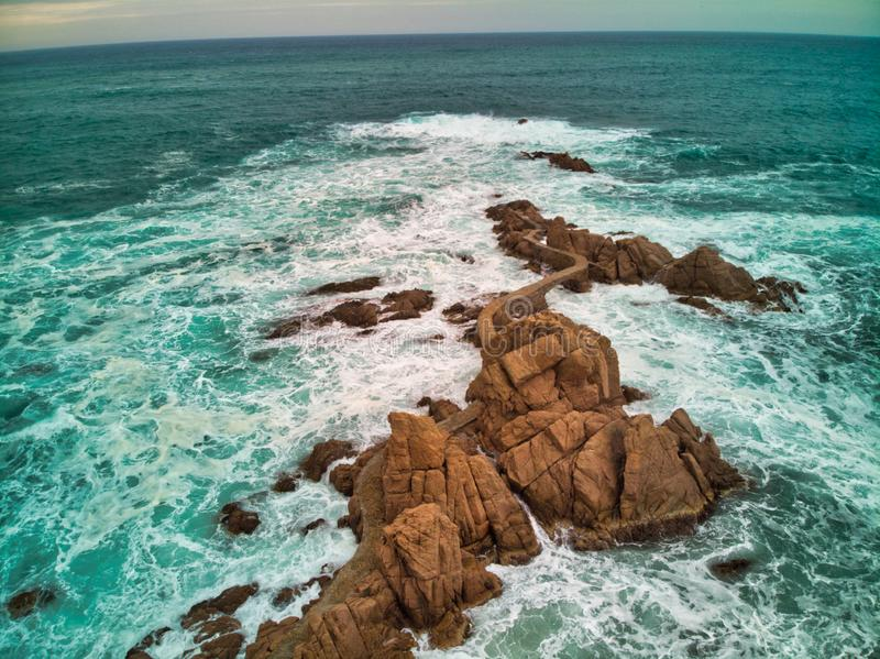 Road over the Mediterranean Sea on the Brave Coast. Photo by drone view outdoor natural travel ocean nature beautiful blue water landscape san orange danger royalty free stock photography