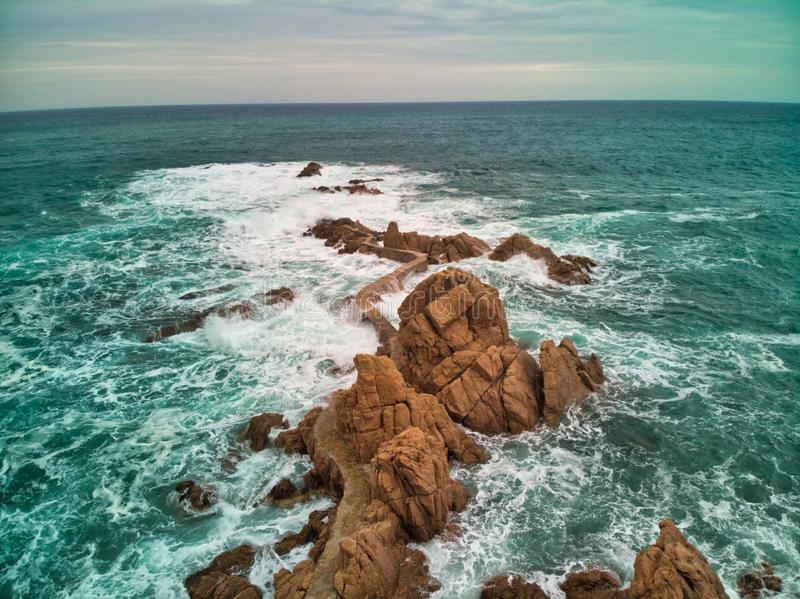 Road over the Mediterranean Sea on the Brave Coast. Photo by drone view outdoor natural travel ocean nature beautiful blue water landscape san orange danger stock photography