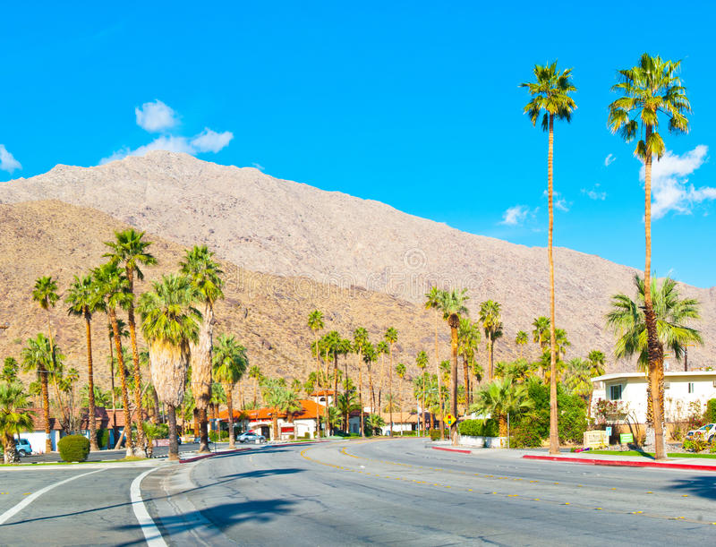 Road in Palm Springs. An abandoned road heading through the city of Palm Springs, California, USA royalty free stock photos