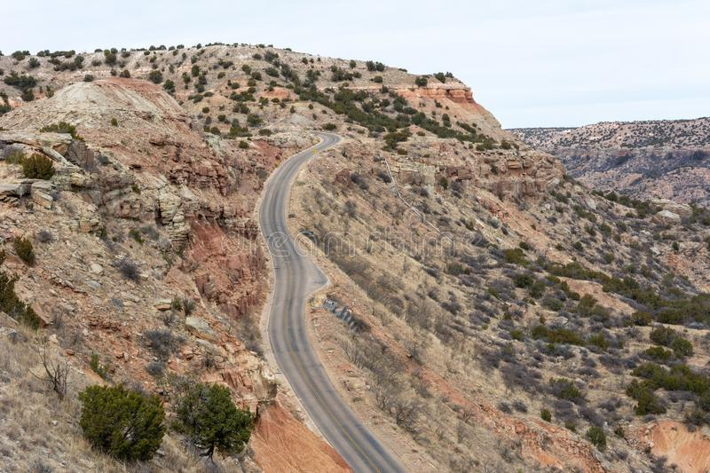 Road in Palo Duro Canyon in Texas. United States of America royalty free stock photo