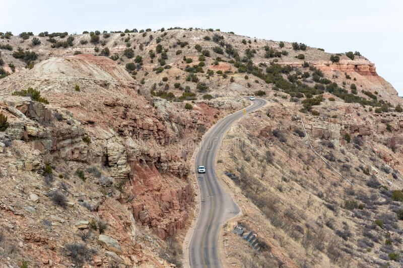 Road in Palo Duro Canyon in Texas. United States of America stock photography