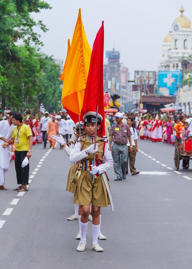 Road Parade for Iskcon Rath Yatra. At Kolkata,Dharmatala stock image