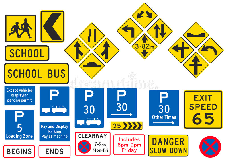 Road and Parking Sign. A collection of 31 Different Road sign and Parking Sign vector illustration
