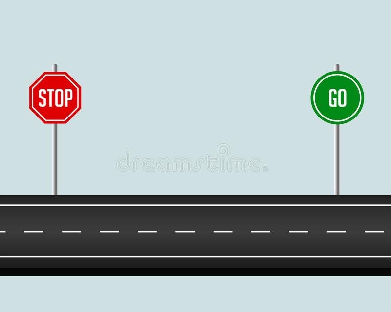 Road pathway with stop and go sign royalty free illustration