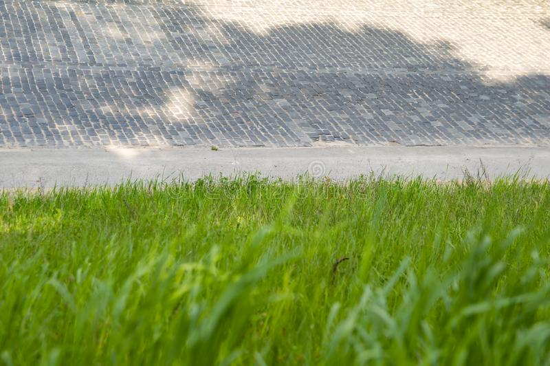 Road from paving stones on a background of green grass. Place for text stock photo