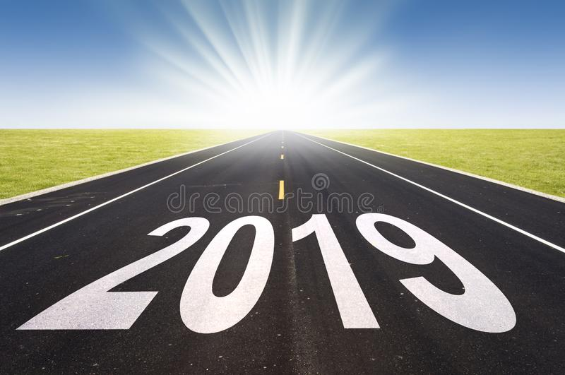 2019 road perspective with rising sun. 2019, road perspective with rising sun stock images