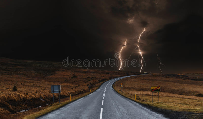 The road with powerful thunderstorm landscaped. The road with powerful thunderstorm landscape stock image