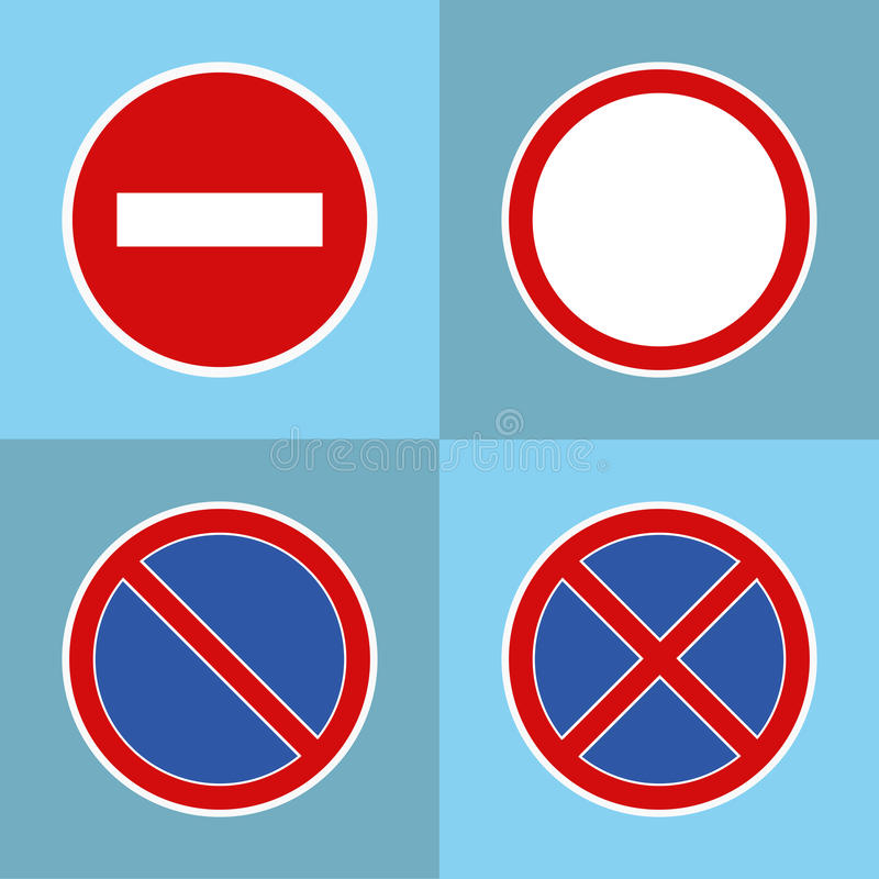 Road prohibitory signs royalty free illustration
