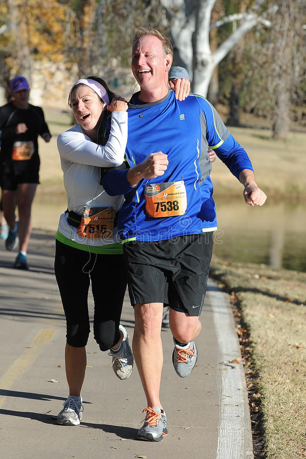 Road Race Runner. Five mile race in Phoenix Arizona during the winter royalty free stock images