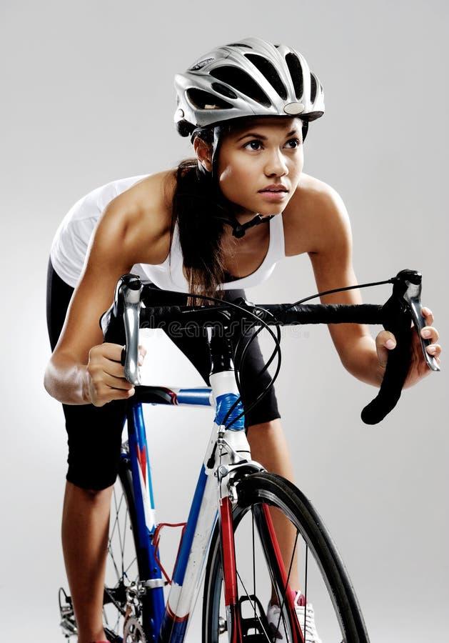 Road racing bicycle woman royalty free stock photo