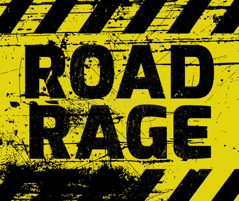 Road Rage sign. Yellow with stripes, road sign variation. Bright vivid sign with warning message stock illustration