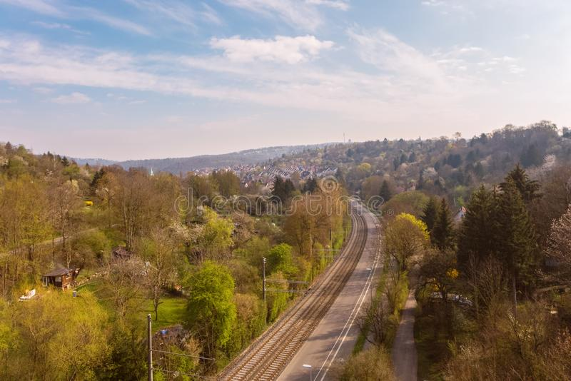 A road with rails leads to Stuttgart. Germany stock photos