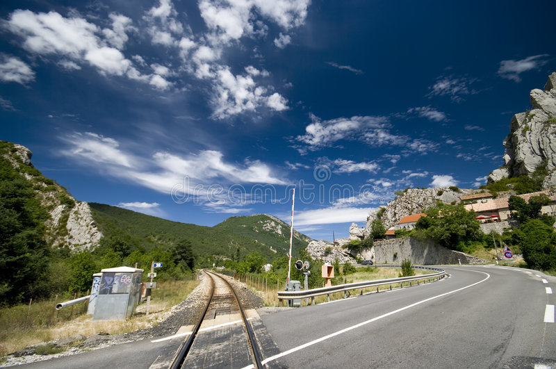 Download Road and railway stock photo. Image of bright, crossing - 6042736