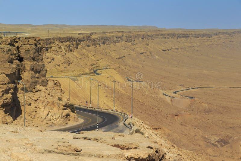 Road through Ramon crater stock photo