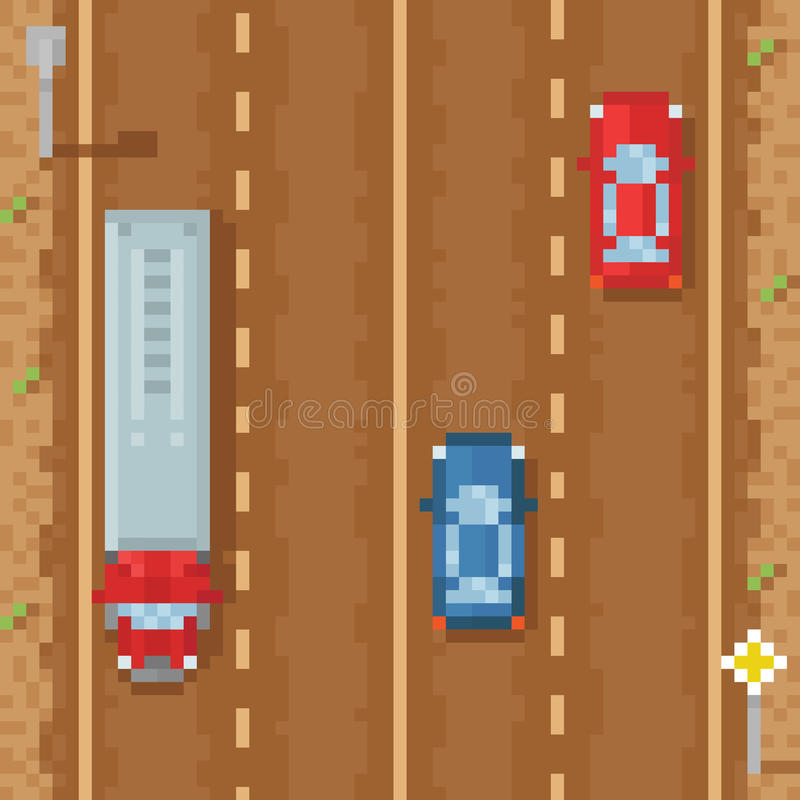Road with red blue cars and cargo truck - retro. Pixel art vector illustration stock illustration