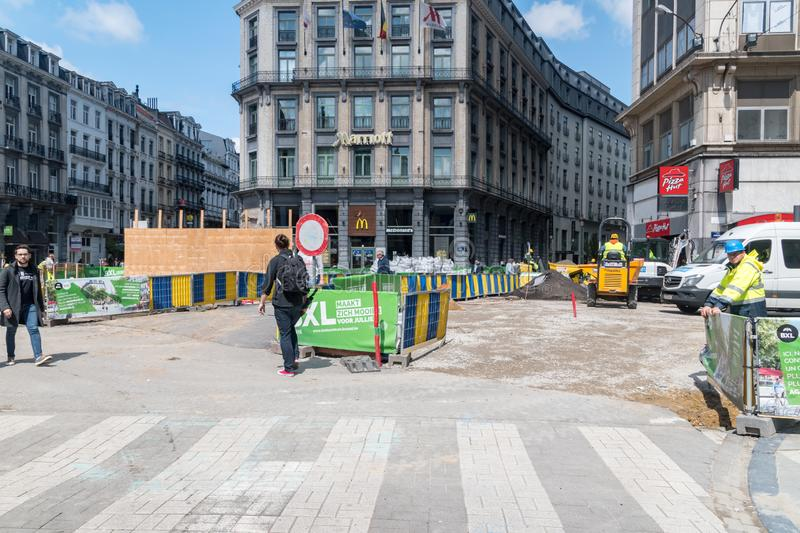 Road renovation in the center of Brussels stock image