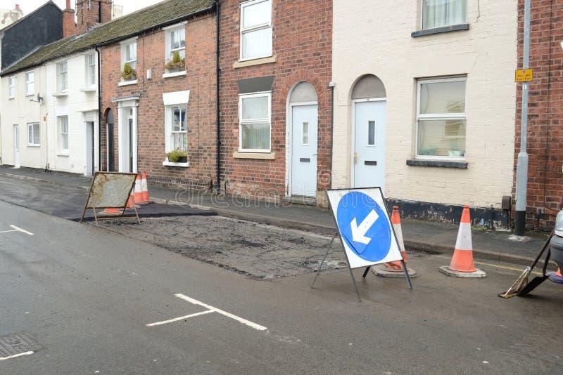 Road repair. The work of road repair in the city stock image