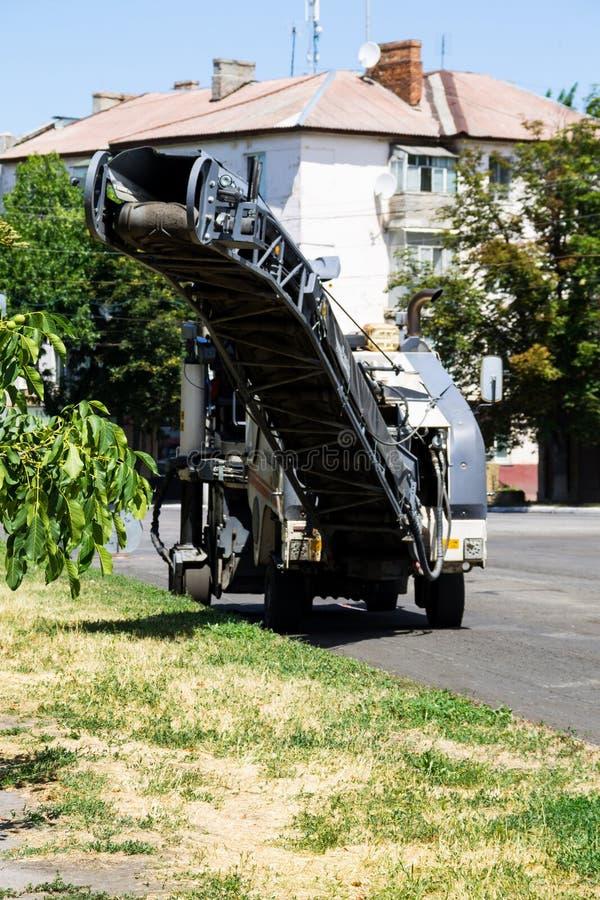 Road repair asphalt cutting stock image