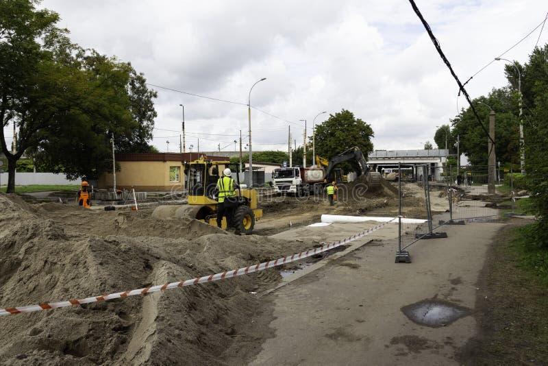 Road repair in the city stock images