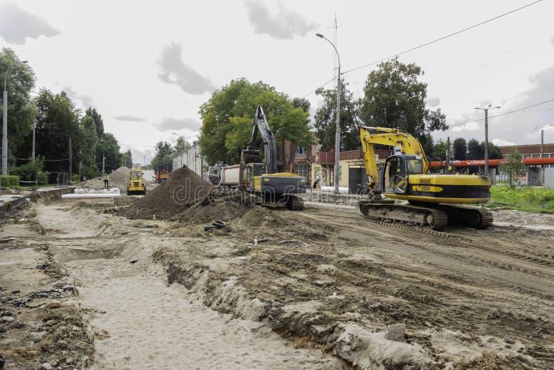 Road repair in the city royalty free stock photo