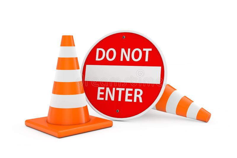 Road Repair Concept. Traffic Cones with Red Do Not Enter Sign Bo royalty free illustration