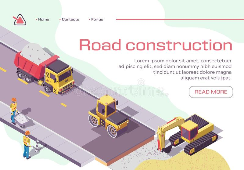 Road Repair and Construction with Heavy Machines royalty free illustration