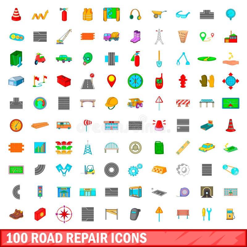 100 road repair icons set, cartoon style royalty free illustration