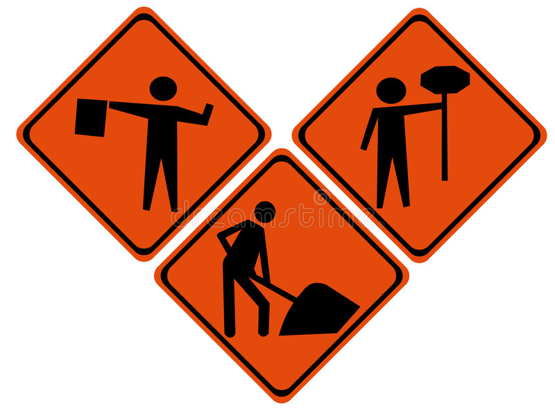 Road repair signs vector illustration