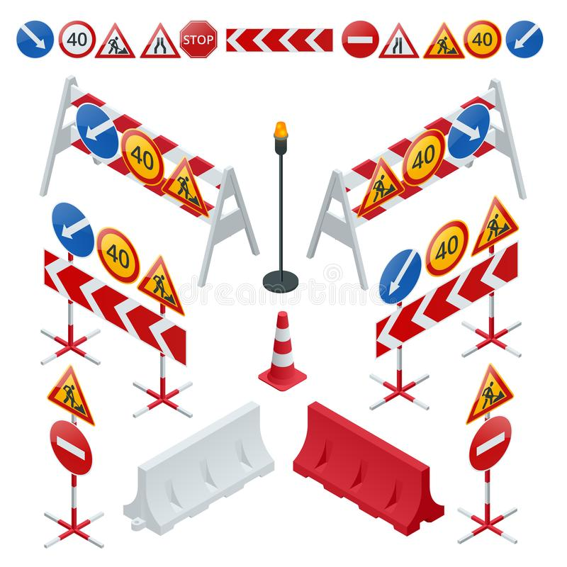 Road repair, under construction road signs. Flat 3d vector isometric illustration. Road repair, under construction road signs. Flat 3d vector isometric stock illustration