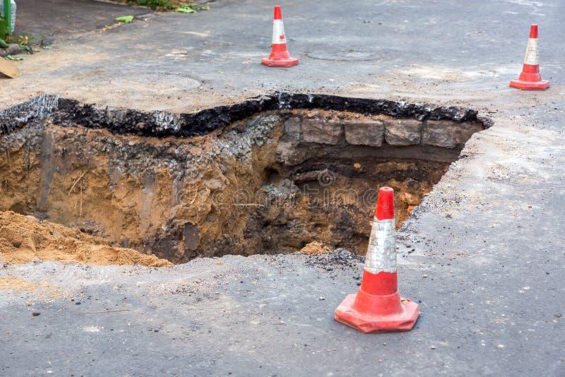 The road repair work. stock image
