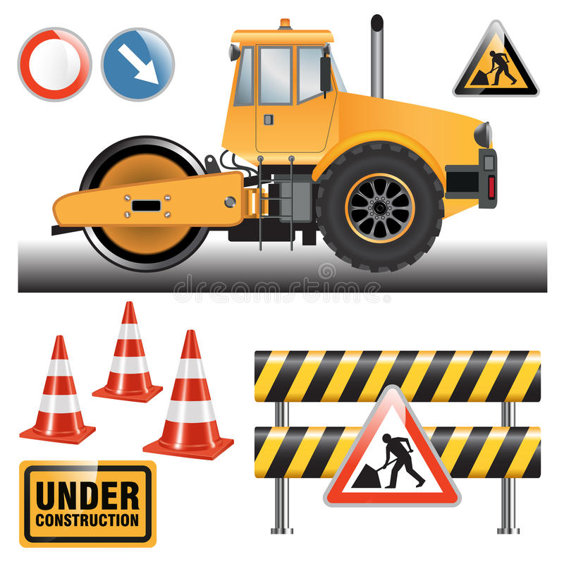 Road roller on the construction site stock illustration