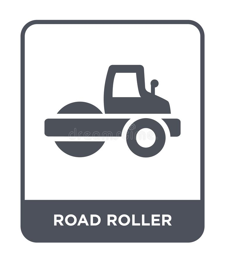 Road roller icon in trendy design style. road roller icon isolated on white background. road roller vector icon simple and modern. Flat symbol for web site royalty free illustration