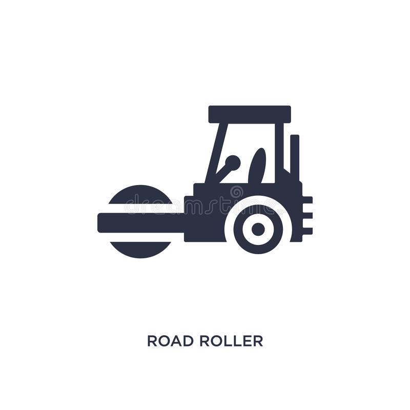 road roller icon on white background. Simple element illustration from tools concept stock illustration