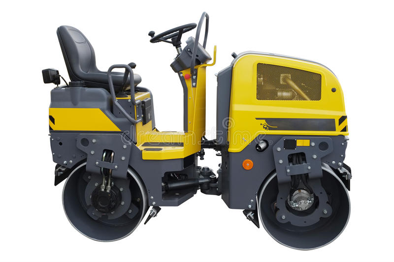 Road roller. The image of a road roller under the white background royalty free stock photo