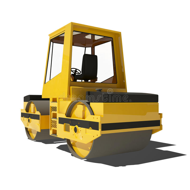 Download Road Roller Isolated On White Background. Stock Illustration - Illustration of operator, power: 34042048