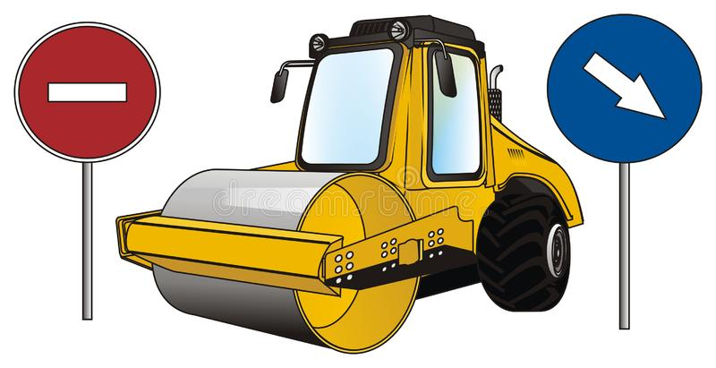 Road roller with road`s signs. Yellow road roller stand with road`s ban and arrow vector illustration