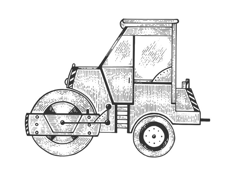 Road roller tractor machine sketch engraving. Vector illustration. Scratch board style imitation. Black and white hand drawn image royalty free illustration