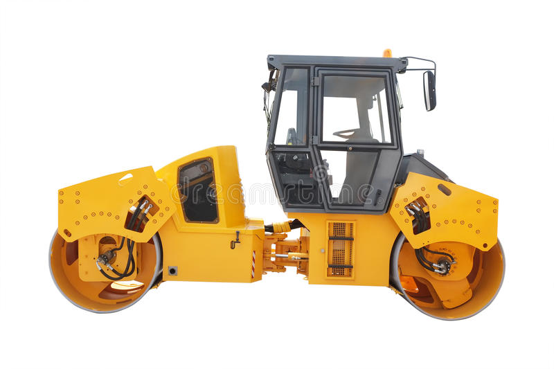 Road roller. Under the white background royalty free stock photography