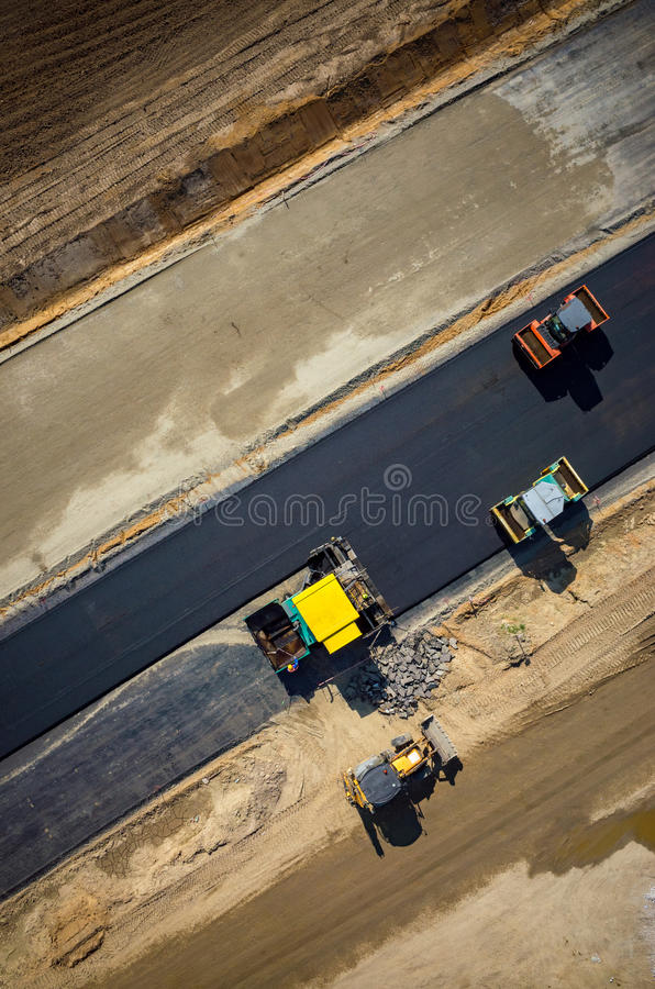 Free Road Rollers Working On The Construction Site Aerial View Royalty Free Stock Image - 71058246