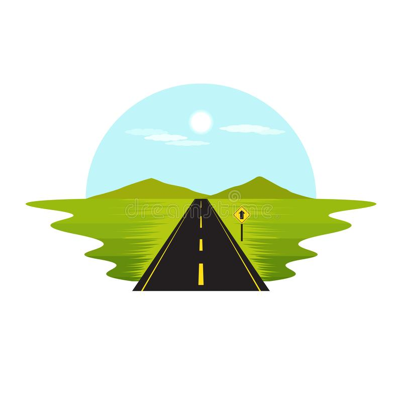 Road Route on The Way Day and Sign Landscape. Vector royalty free illustration