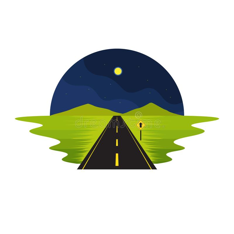 Road Route on The Way Night Scene and Sign Landscape royalty free illustration