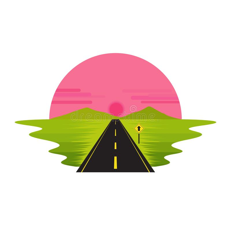 Road Route on The Way Sunrise Dawn and Sign Landscape royalty free illustration