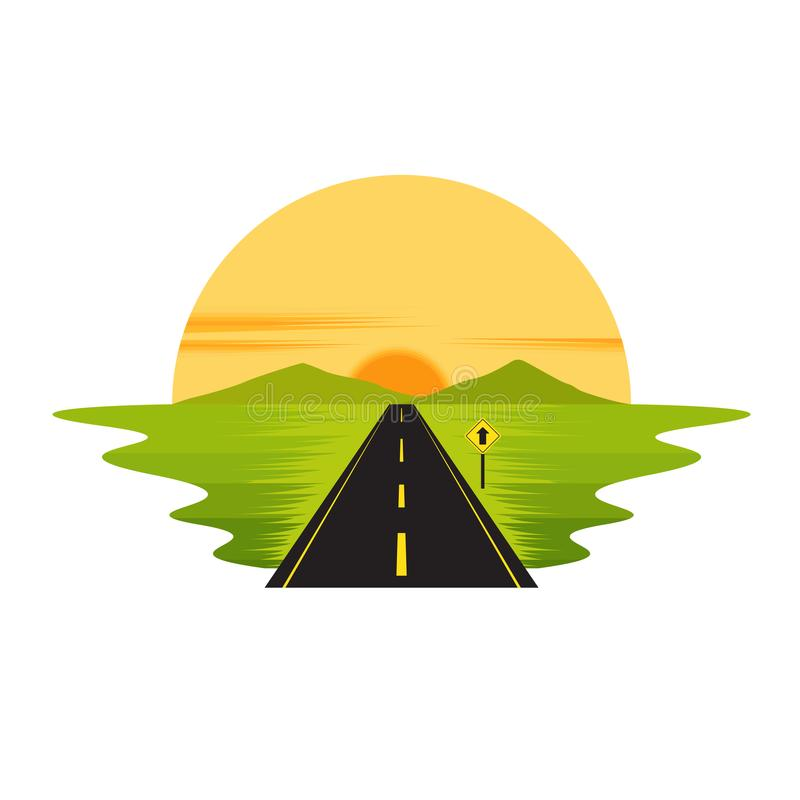 Road Route on The Way Sunset and Sign Landscape royalty free illustration